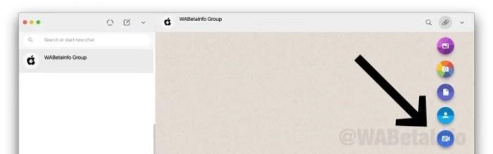 La opción de videollamadas de Room, esta vez en la versión WhatsApp Web.