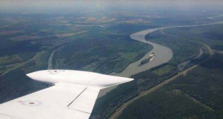 An aerial view of Liberland, which is located in the sector of land enclosed between rivers.  The largest is the Danube.