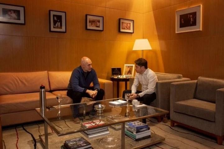 Horacio Rodríguez Larreta y Axel Kicillof, a mediados de agosto, antes de definir otra prórroga del aislamiento.