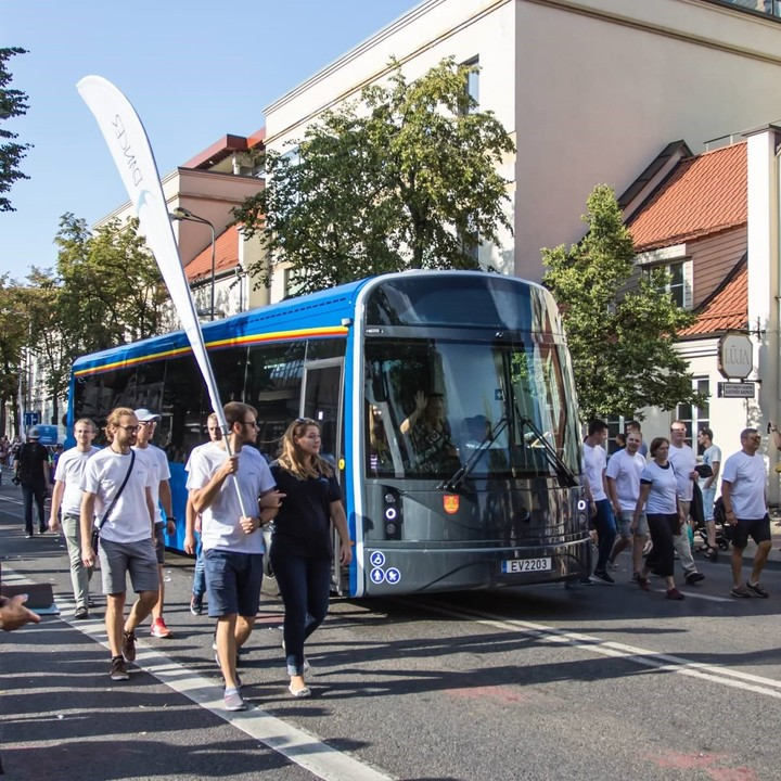 The Dancerbus, an electric bus made from recycled bottles that is tested in Lithuania.  In Buenos Aires ecological buses have been tested for a couple of years.  Stock Photo