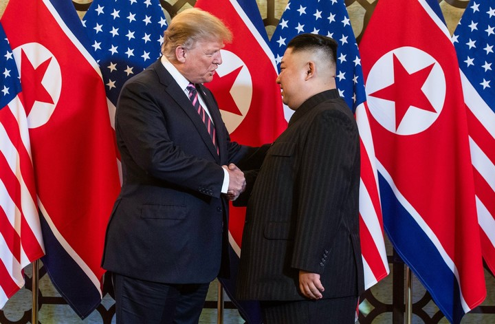 The former president of the United States.  Donald Trump, and North Korean leader Kim Jing-un, in February 2019 in Hanoi, Vietnam.  Photo: AFP