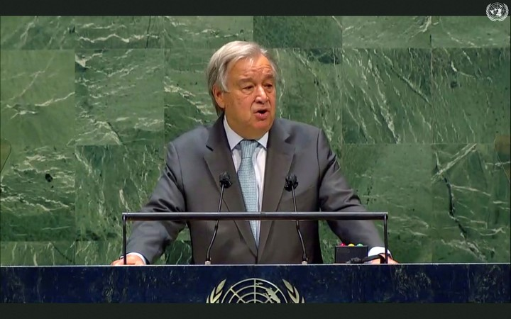 Antonio Guterres speaks at the UN in 2020. Photo: AP