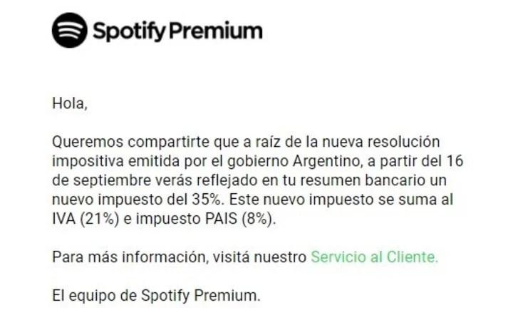 Spotify y el aviso sobre la facturación con el 35%. Foto Captura de Pantalla