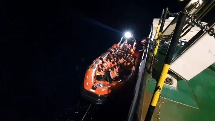 Image of the transfer on board the NGO rescue ship of the 77 migrants rescued in the Mediterranean by the NGO ship Open Arms