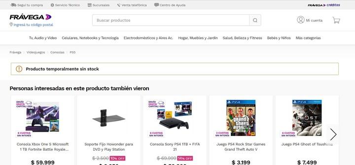 PlayStation 5 sin stock. La consola de videojuegos se agotó en tiempo récord. Foto: capturas.