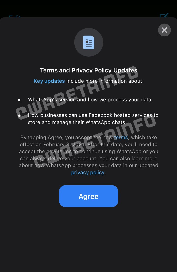 According to the WABetainfo site, the user must accept the new privacy policy to continue using WhatsApp in 2021