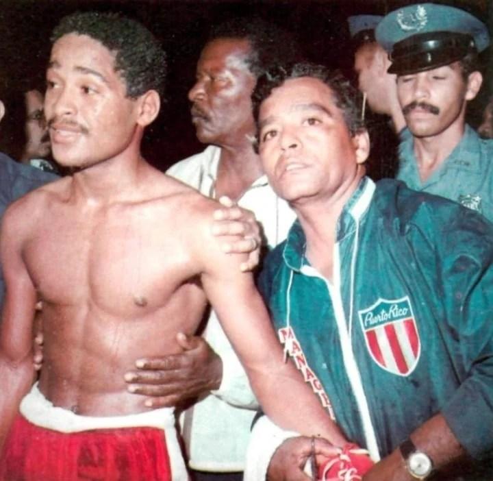Wilfred Benítez junto a Gregorio, su padre y entrenador.