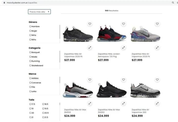 Cada vez es más común comprar zapatillas a través del comercio electrónico.