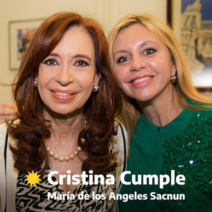 Cristina Kirchner and María de los Ángeles Sacnun.