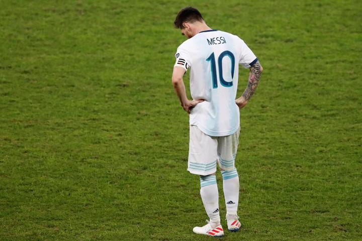 Lionel Messi estalló contra la Conmebol tras la eliminación de la Argentina ante Brasil en la Copa América 2019. Foto: Nelson Antoine.