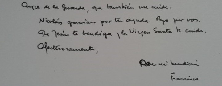 Part of a letter the Pope sent Nico.