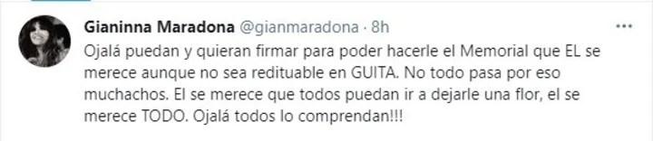 Gianinna Maradona's tweet.