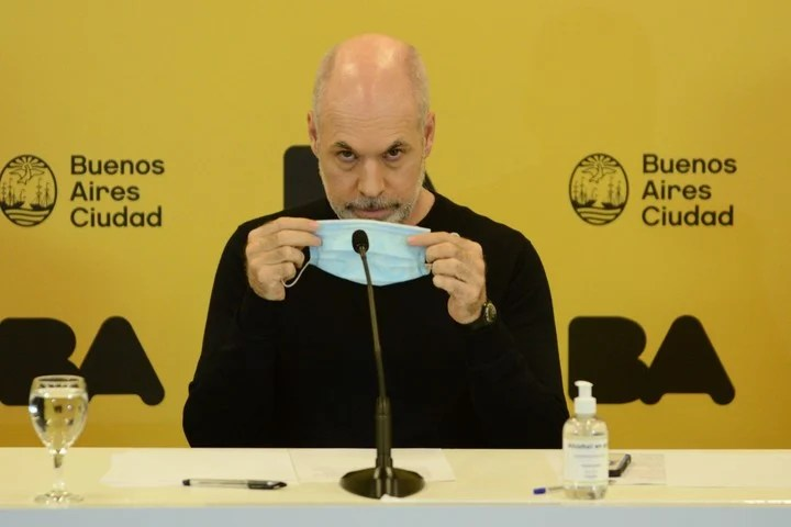 The head of Government Horacio Rodríguez Larreta, at a press conference.  It is the one with the best image for Opinaia.  Photo Emmanuel Fernández.