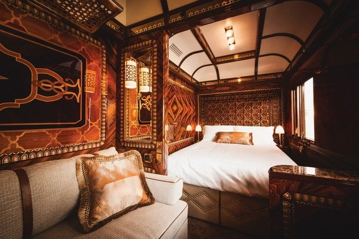 During the afternoon, the butler removes the beds from the suite to create a living room.  Photo Belmond.