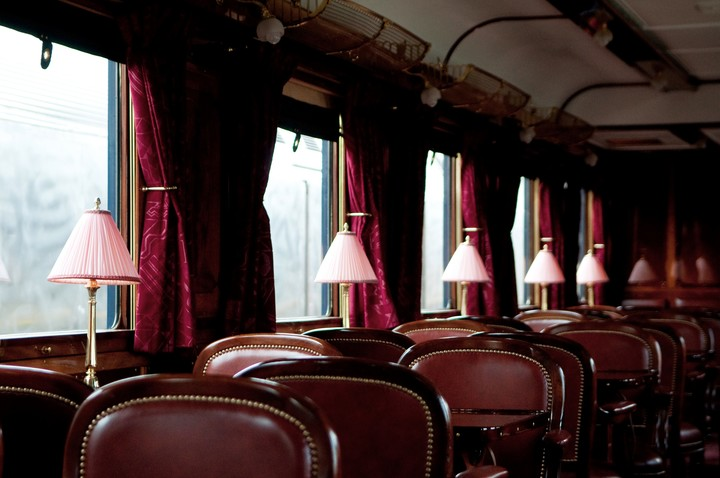 Orient Express signature wagons are used for private travel.  Photo Lola Hakimian.