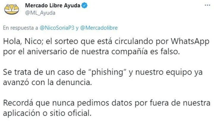 Clarification of the MercadoLibre Help account.