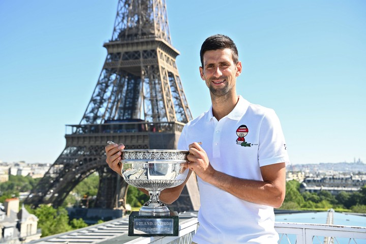 """""""I've put myself in a good position to go for the Golden Slam""""Djokovic said after winning Roland Garros two weeks ago.  Photo Christophe Archambault / AFP"""