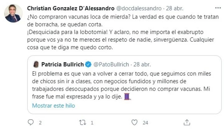 Christian D'Alessandro, the lawyer who interrupted a Brandoni performance and accused Bullrich of not following protocols at the theater.