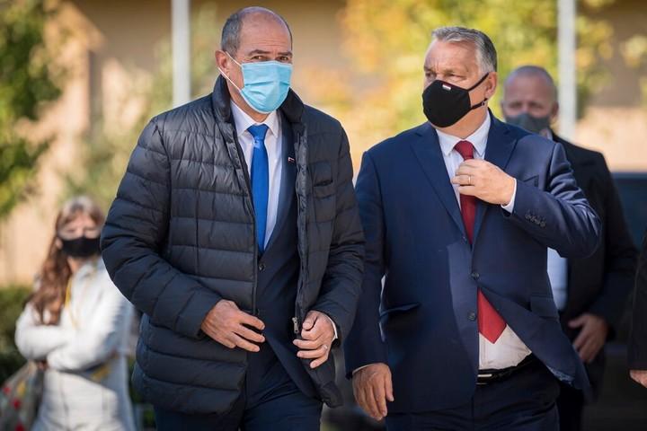 Slovenian Prime Minister Janez Jansa, left, and Hungarian Prime Minister Viktor Orban, in Kidricevo, Slovenia, last year.  Photo Jure Makovec / Agence France-Presse - Getty Images