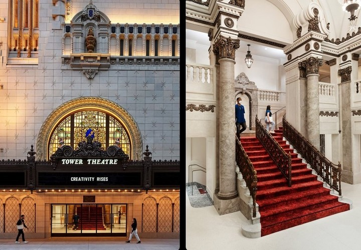 The main entrance to the Apple Tower Theater and its fabulous period details.  Photo Apple.