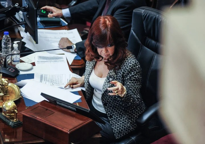 Cristina Kirchner presides over a session in the Senate at the end of June.