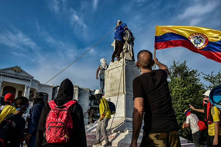 The monument was donated by the Italian colony of Barranquilla in 1892, in commemoration of the 400 years of the discovery of America.  Photo: AFP