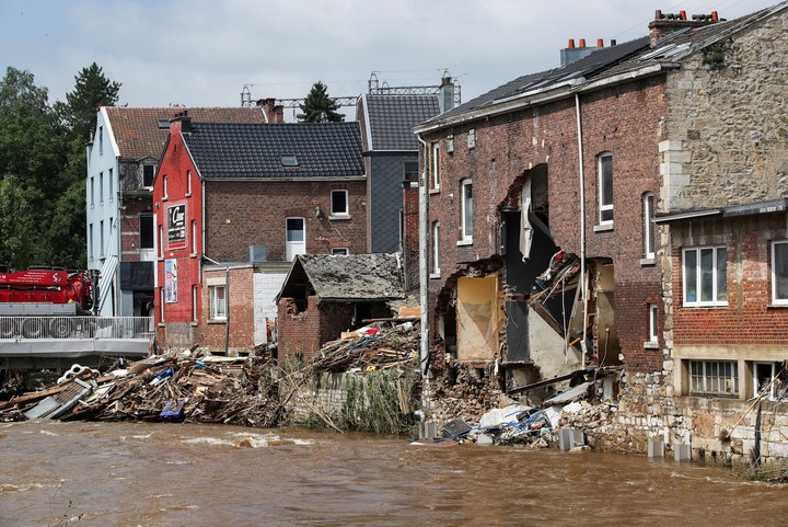 Houses destroyed by the fury of the floods in Pepinster, Belgium.  Photo: REUTERS