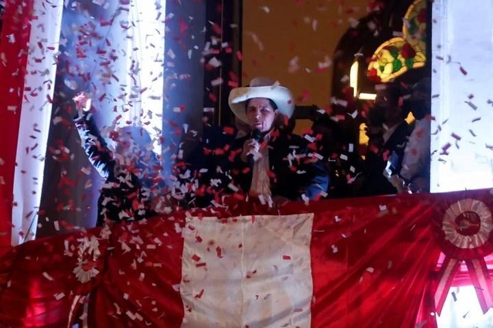 The celebration of Pedro Castillo.  Reuters photo