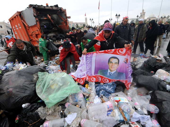 The January 2011 protests in Tunisia, which led to the removal of the Zine el-Abidine Ben Ali regime.  Photo: AFP