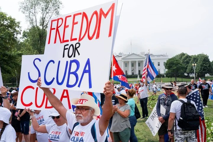 A Cuban-American protest against the island's communist government near the White House in Washington in late July.  Photo: AP