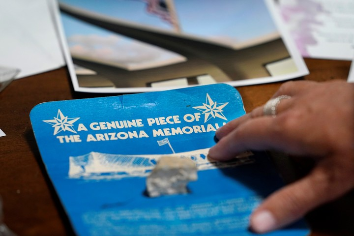 A piece from the USS Arizona Memorial, given to Teri Mann Whyatt as a child.  AP Photo