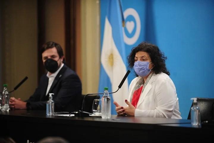Nicolás Kreplak and his peer from the Nation, Carla Vizzotti, at a press conference.  Photo Germán García Adrasti.