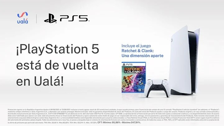 The fintech Ualá offers a loan to acquire the PS5 console.