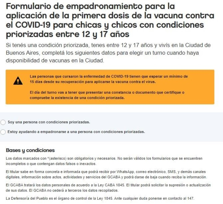 The form to register minors between 12 and 17 years of age in the City of Buenos Aires.