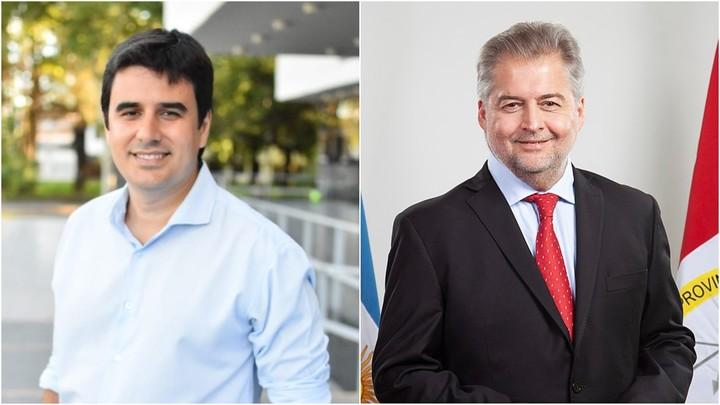 Eduardo Toniolli and Roberto Mirabella, candidates for deputies from the Frente de Todos in Santa Fe.