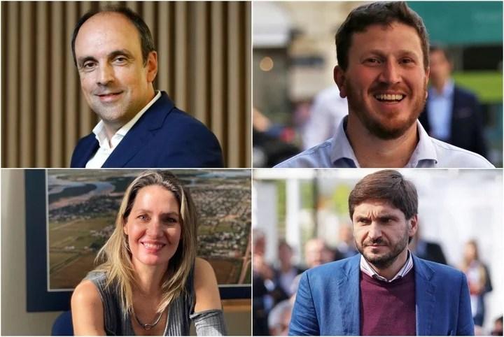 José Corral, Federico Angelini, Carolina Losada and Maximiliano Pullaro, candidates for senators for Santa Fe de Juntos por el Cambio.