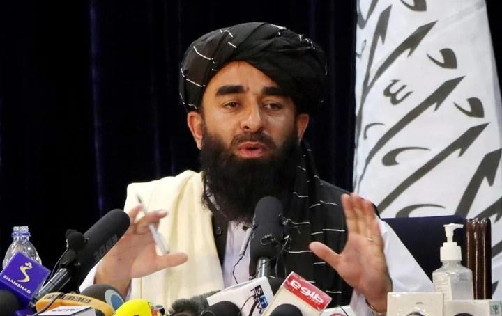 Taliban spokesman Zabihullah Mujahid speaks to the press in Kabul.  Reuters photo