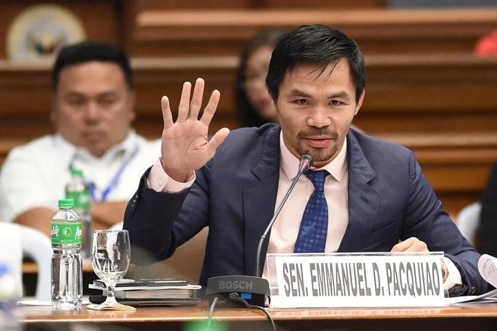 Manny Pacquiao en su rol de senador en Filipinas. Foto: AFP