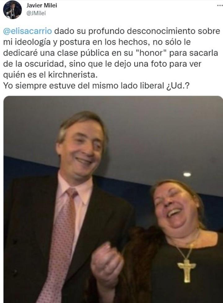 La respuesta de Javier Milei a Elisa Carrió
