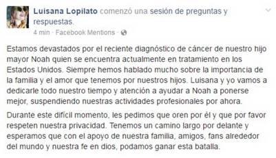 Comunicado en Facebook de la familia Lopilato Bublé sobre el cáncer de Noah