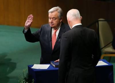 Antonio Guterres jura como secretario general de la ONU, en Nueva York. / AFP