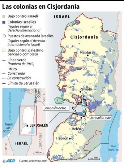 Mapa de las colonias israelíes en Cisjordania y las zonas de control (AFP)