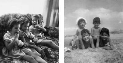 Estela, Beatriz y Diana (izquierda) / Vacaciones en Villa Gesell, 1959 (derecha)