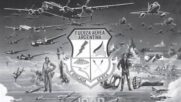 Cincuenta años de la V Brigada Aérea (1999), óleo de E. Martínez, versión en blanco y negro (Foto: E. Martínez)