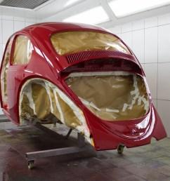 vw beetle restoration body painted in ruby l456  [ 1280 x 853 Pixel ]