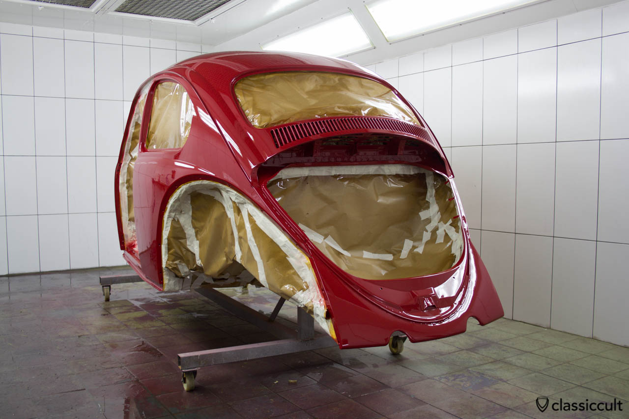 hight resolution of vw beetle restoration body painted in ruby l456