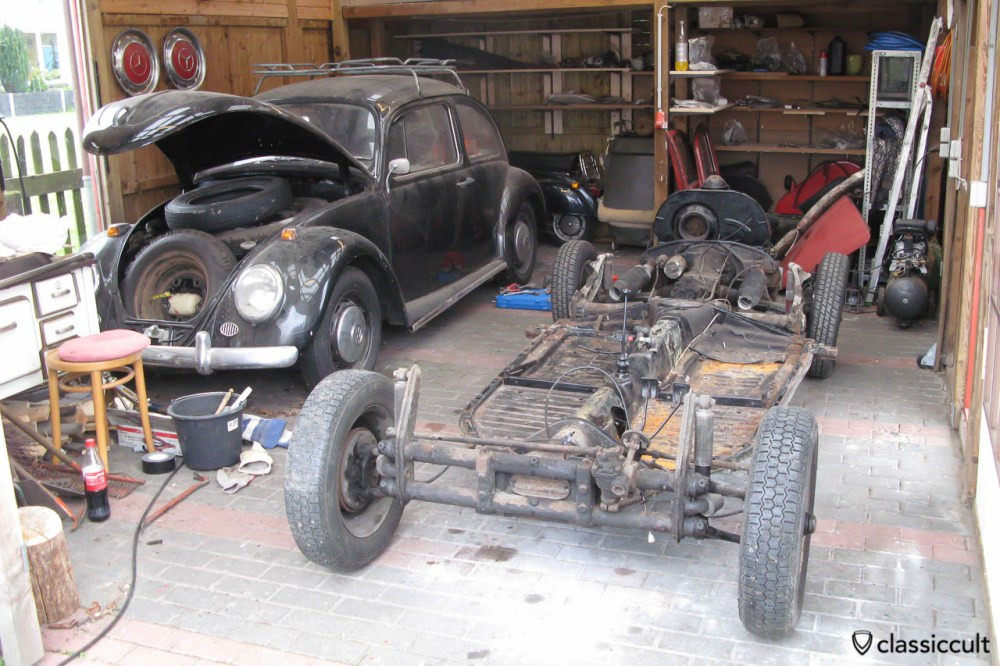 medium resolution of vw beetle body removed from chassis