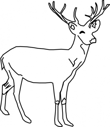 Black Outline White Deer Mammals Animal clip arts, clip