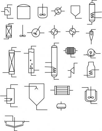 화학 과학 다이어그램 기호 화학 순서도 차트 블록 Flowsheet 원자로 교환기 열 증 Tanques