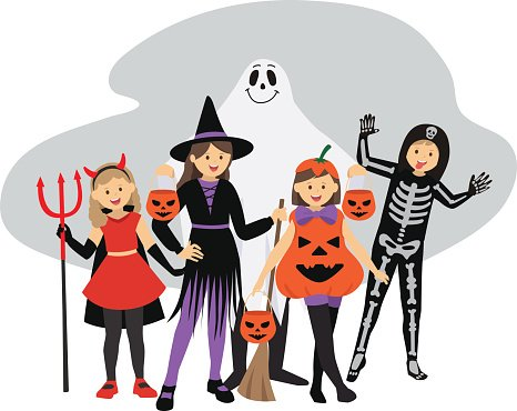 Kids Trick Or Treat Halloween Costumes Clipart Image